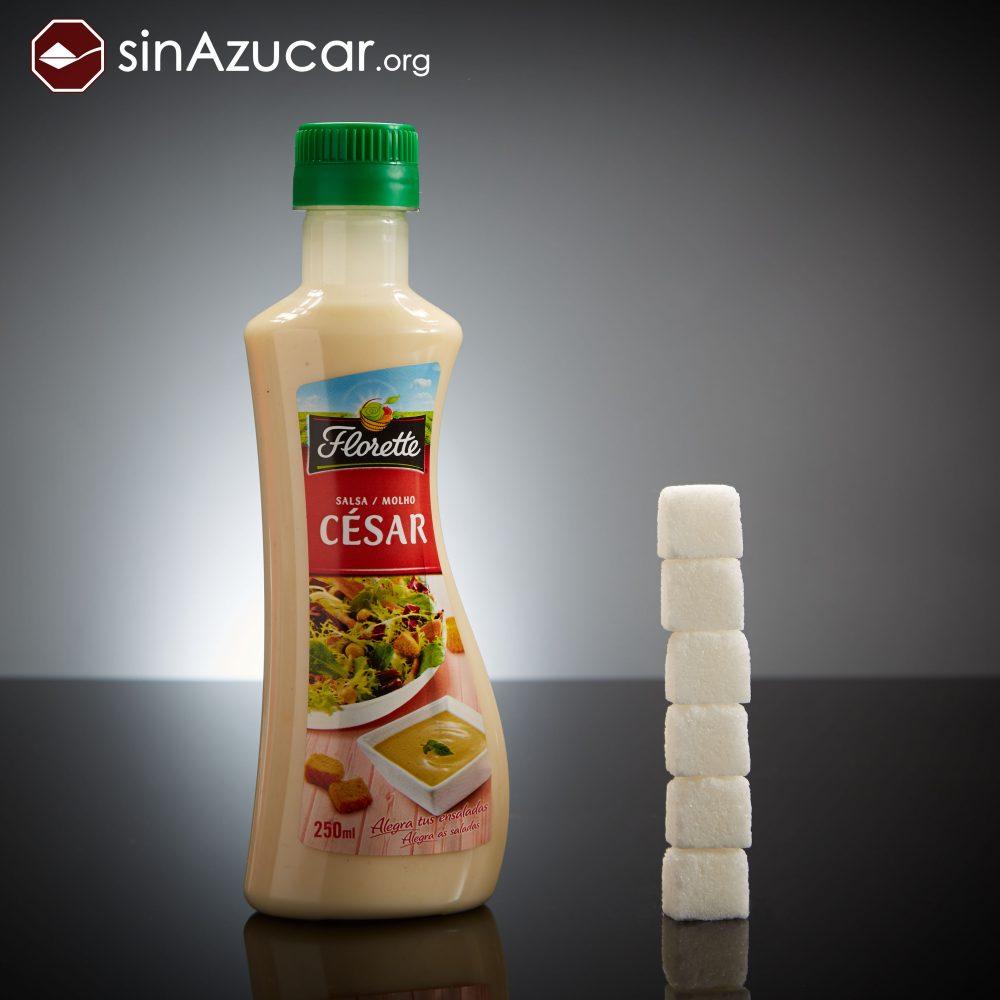 250ml de Salsa César Florette tienen 24gr de azúcar (6 terrones). ¡Cuidado con una ensalada cesar que puede llevar sorpresa!