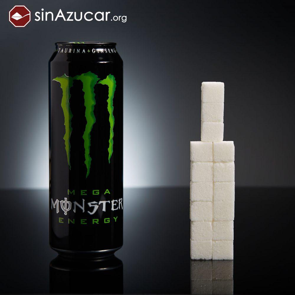 Una lata de Monster (553ml) tiene 60g de azúcar (15 terrones). ¡Cuidado! Su consumo es frecuente en adolescentes.
