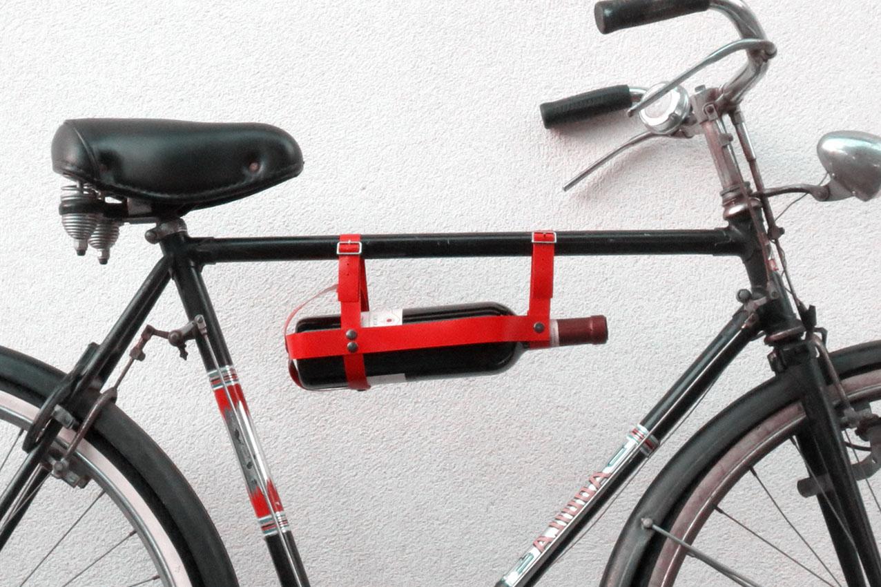 wine bike_porta bottiglia rosso
