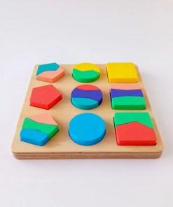 rompecabezas geométrico de madera para chicos