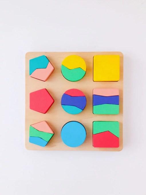 rompecabezas geométrico de madera