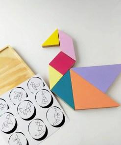 tangram rompecabezas de madera forma pato