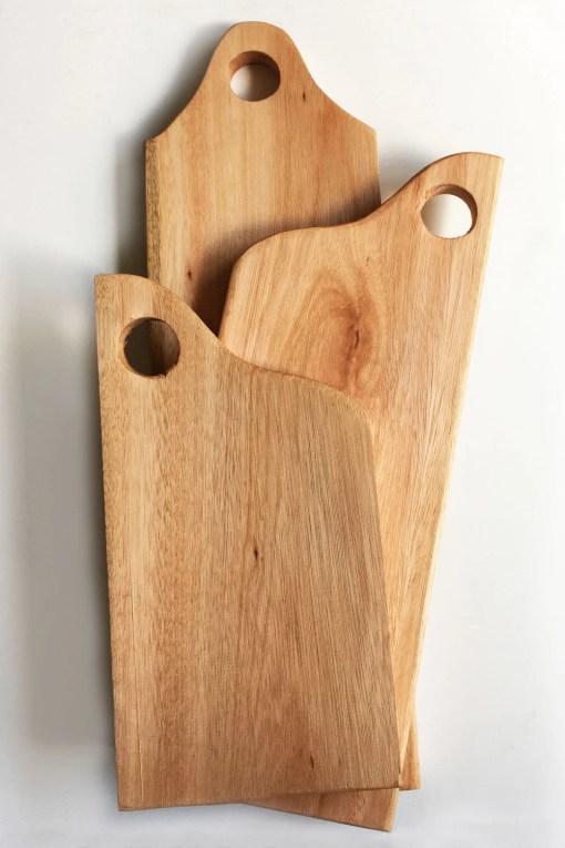 set de 3 tablas de madera de eucalipto curado natural