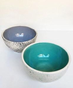 bowls de cerámica esmaltadas colores gris y acqua