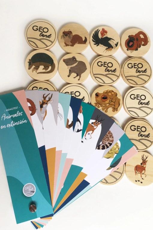 Memotest de madera con animales en extinción e información