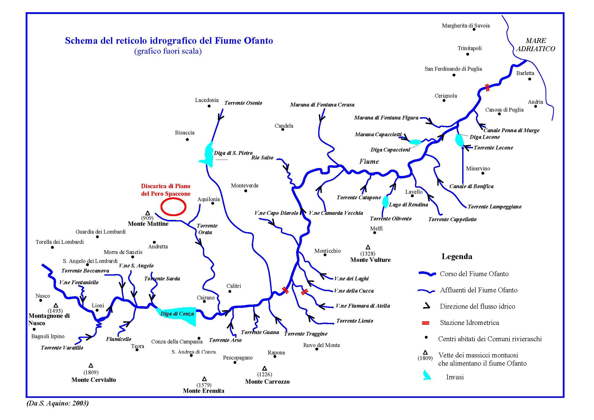 il formicoso e il reticolo idrografico dell'Ofanto