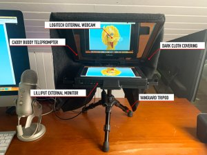 Teleprompter for eye-contact front view