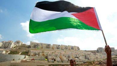 Drapeau-palestinien-devant-la-colonie