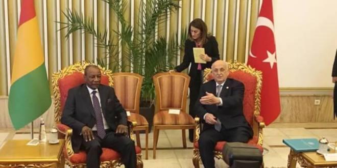 Le Président de la République, Chef de l'Etat, Alpha a été reçu par İsmail Kahraman, Président de l'Assemblée nationale turque.
