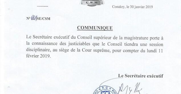 Communiqué du Conseil Supérieur de la Magistrature