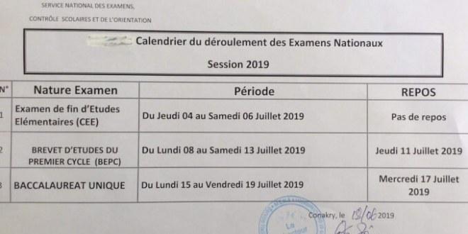 MEN-A : calendrier du déroulement des examens nationaux session 2019.