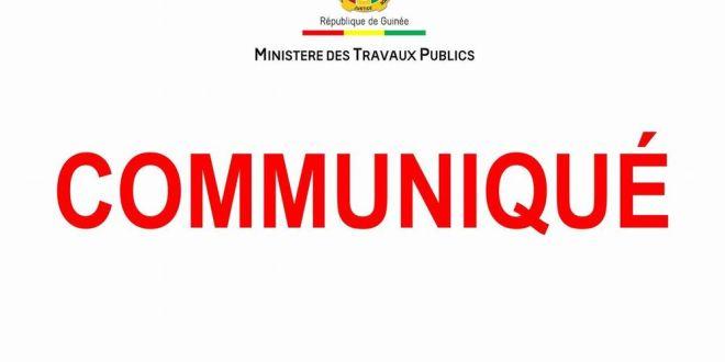 Communiqué Ministère des Travaux Publics