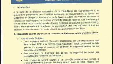 Protocole de réouverture des frontières aériennes guinéennes