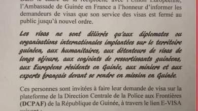 L'ambassade de Guinée en France ne delivre plus de visa qu'à une certaine catégorie de personnes
