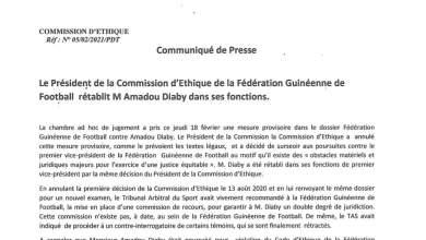 Amadou Tham Camara, a décidé de rétablir Amadou Diaby dans ses fonctions de 1er Vice-Président de la FEGUIFOOT,