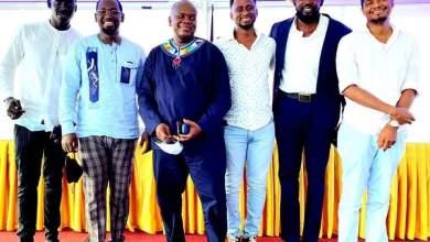 Les 6 membres du Conseil d'administration de la FECEG ( Fédération des Entreprises Culturelles et Économiques de Guinée) .