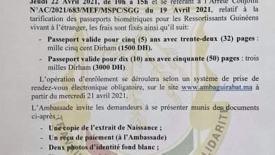 AMBASSADE DE GUINEEA RABAT PASSEPORT BIOMETRIQUE Date et modalités des opérations d'enrôlement.