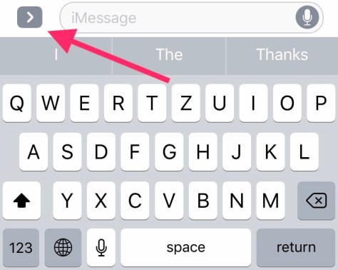 Grey arrow icon above keyboard in messages App opens personalization menu