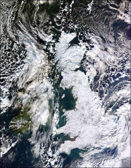 uk in snow by NASA