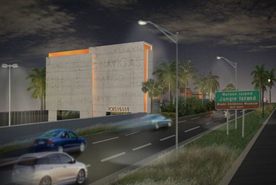 Port-Of-Miami-Tunnel-Entrance-with-Glowing-Orange