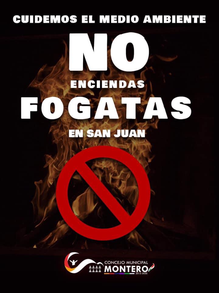 Cuidemos el medio ambiente, no enciendas fogatas en San Juan. Evitemos la Contaminación