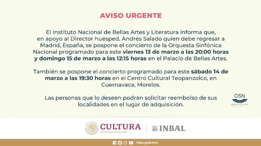 inba aviso cancelaciones - Afecta coronavirus la programación cultural