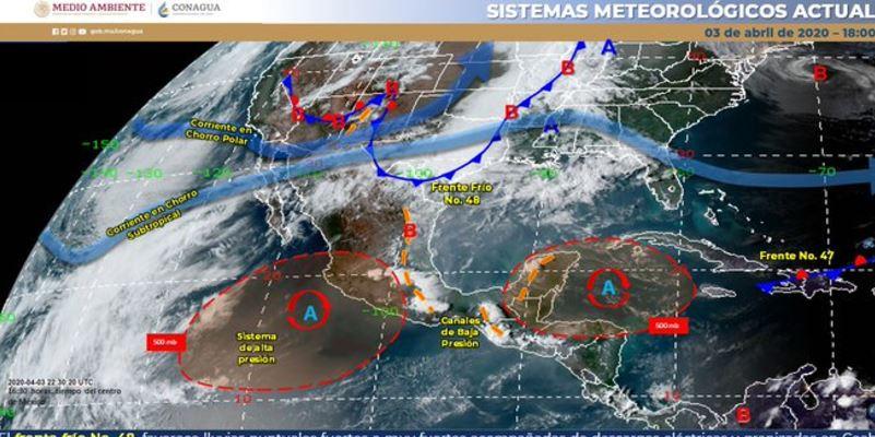 frente frio 48 norte y noroeste - Lluvias, descargas eléctricas, granizadas y vientos por Frente Frío 48