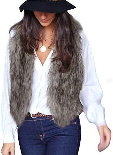 MNLOS Chaleco de Piel sintética para Mujer Chaleco sin Mangas Fuzzy Fleece Jacket Abrigo Ligero de otoño cálido