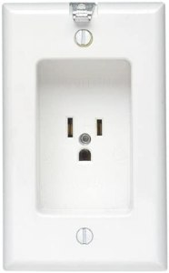 Leviton 688-W 15 Amp, 125 Volt, 1 Gang Recessed Single Receptacle, Residential Grade, with Clock Hanger Hook, White