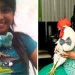 amistad pollo gallo crecimiento chica 4 - Quando criança, ela resgatou um galo da feira e cresceram juntos. Se tornaram grandes amigos