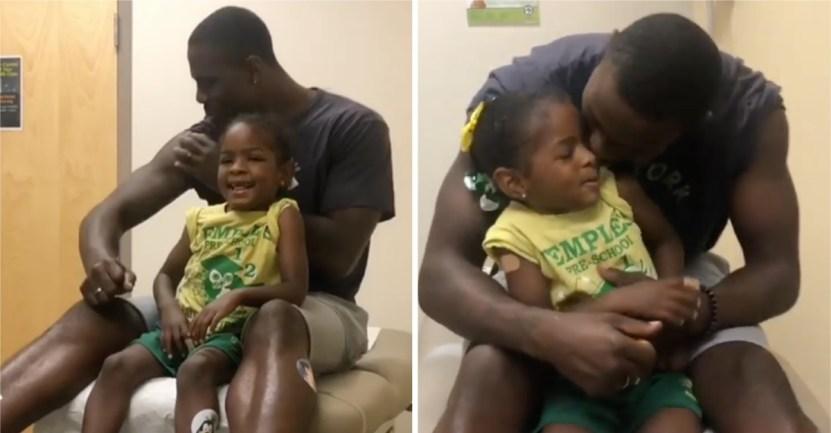 dad vaccine 3 - Papá finge ser vacunado primero para que su pequeña hija no sienta miedo. Con cariño la tranquilizó