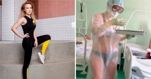enfermera modelo 3 - Enfermera que atendió a pacientes en bata transparente ahora es modelo. Marca deportiva la contrató