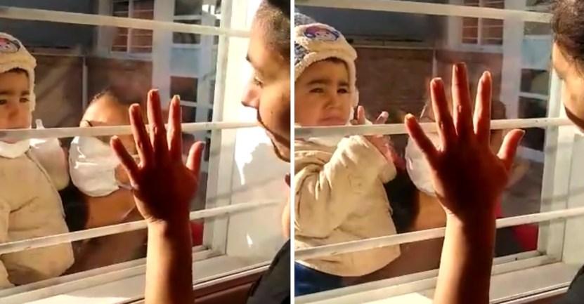madre hijo coronavirus - Madre con COVID-19 se reencontró con su bebé por una ventana. Le rompió el corazón no abrazarlo