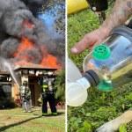 Fondo perro incendio  - Bomberos alcanzaron a rescatar a un perro de una casa en llamas. Les estará agradecido de por vida