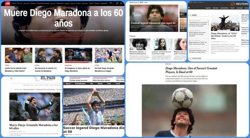 """maradona portadas scaled - La muerte de Maradona, """"la leyenda del futbol"""", acapara las portadas de los medios del mundo"""