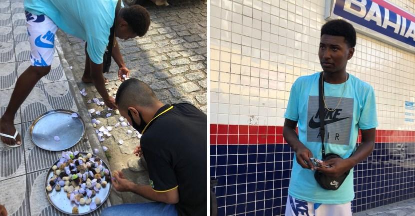 33 vendedor dulces brasil ayuda amigos vecinos corazon - A vendedor callejero se le caen sus dulces y desconocidos los compran. Ayudaron a quien lo necesitaba