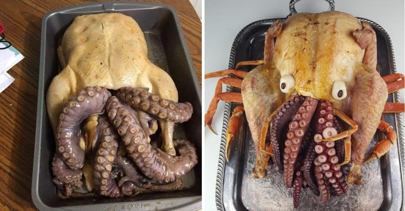 44 pavo pulpo cangrejo mezcla comida texas exagerar Cthulhu - Conoce el pavo relleno con pulpo que tanto disfrutan en Texas. El Cthulhu favorito de los lectores