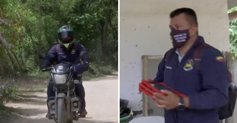 profesor moto - Profesor va de puerta en puerta usando una moto y un parlante para dictar clases. Demuestra vocación