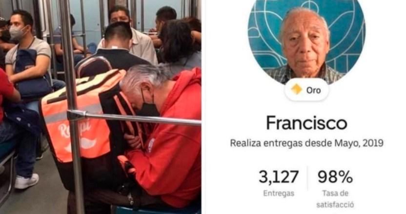 """repartidor tercera edad - FOTO: La historia de """"Panchito"""", el repartidor de Didi que, recargado en Metro de CdMx, conmovió a la Red"""