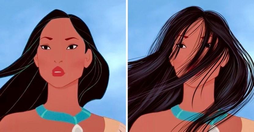 princesas - Así se verían las princesas Disney si tuvieran un cabello más real. Ariel por fin lo tiene mojado