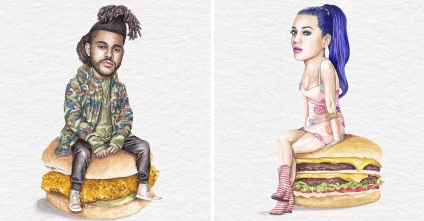 sandwiches - Artista abre el apetito con los famosos posando sobre deliciosos sándwiches
