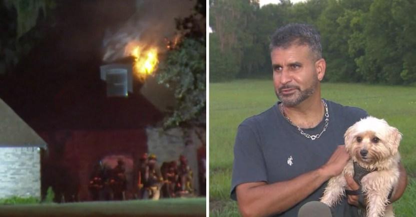"""perrita incendio heroina - Perrita despertó a su dueño cuando la casa se incendiaba y lo salvó: """"Ella es mi heroína, la amo"""""""