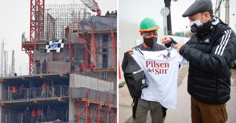obrero futbol equipo estadio juego chile - Equipo dio entradas a obreros que apoyaban desde una construcción. Será su primera vez en el estadio