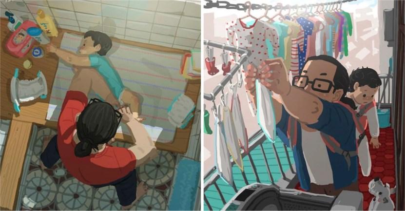 papas - 20 ilustraciones que muestran cómo es la vida de un papá soltero. Si mamá puede, papá también