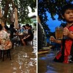 55 tailandia restaurante inundacion dolor peligro sobrevivir - Restaurante sirve la comida en un río en Tailandia y se hacen populares. Trabajan aunque se inunde