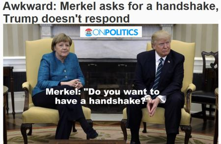 Merkel-Trump-verweigerter Handschlag