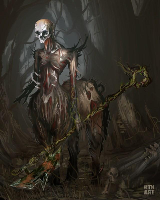 lich centaur creature undead illustration art