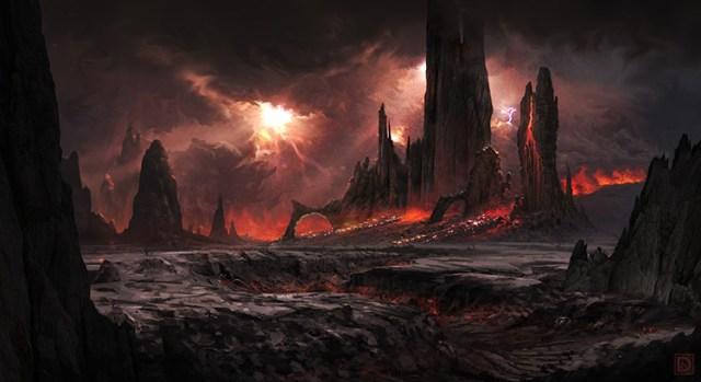 volcano planet lava dark sci-fi concept art