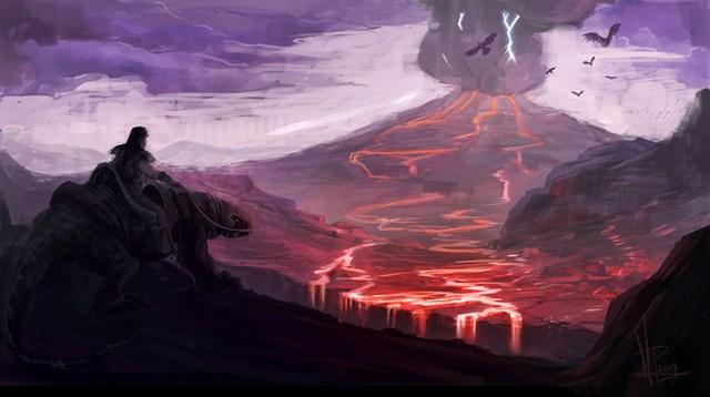 volcano lava rider dark fantasy concept art