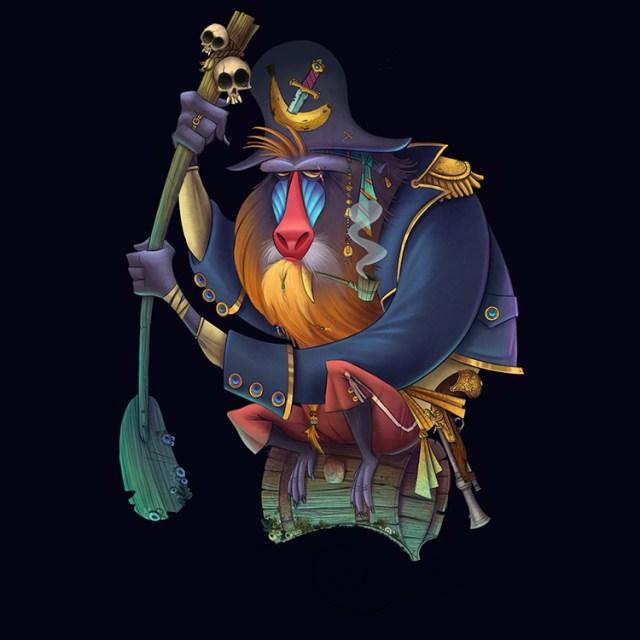 pirate baboon captain sailor character art illustration
